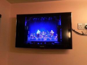 Band onstage, Leeds