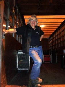 Andy on the truck! Loading out, Burnley
