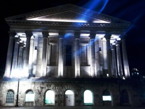 Birmingham Town Hall with spooky blue lights!